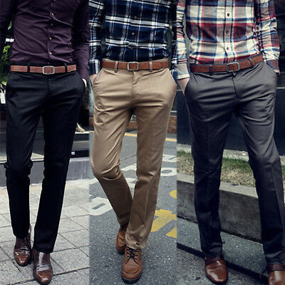 AU Men Suit Pants Business Trousers Waist Stretch Slim Straight Leg Casual Fomal