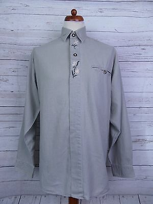 Vintage 90s L-Sleeve European Ethnic Peasant Cotton Shirt -L- DT21