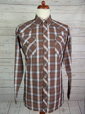 Mens Vtg L Sleeve Brown Check Shirt Indie Urban Scooter -L- DP61