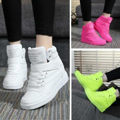 Womens Sport Comfy Rivets Hidden Wedge Heel High Top Shoes Lace Up Sneakers JJ