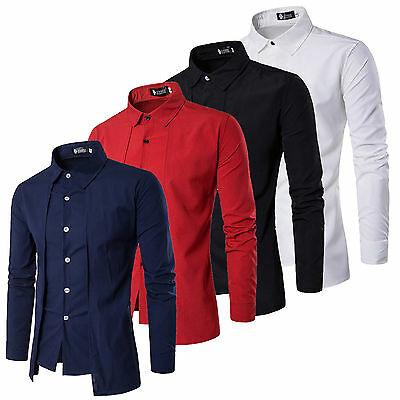 New Men's Luxury Casual Stylish Slim Fit Long Sleeve Casual Dress Shirts Tops AU