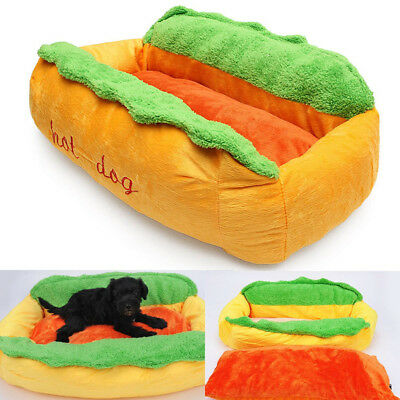 Hot Dog Cotton Kennel Pet Bed Cat Nest Puppy House Warm Mat Cushion Washable Pad