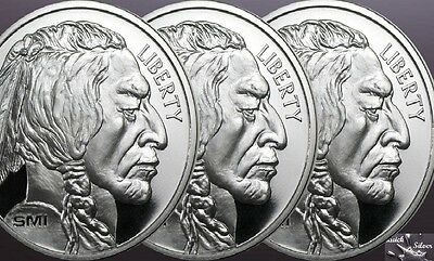Lot of 3-1 oz Sunshine Mint Buffalo Silver Round **.999 fine & with MintMark SI*