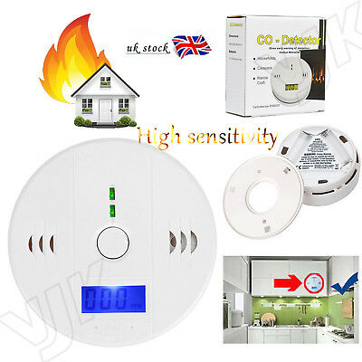 LCD CO Carbon Monoxide Detector Poisoning Gas Warning Alarm Sensor Monitor UK