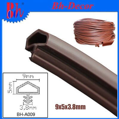 PVC Extruded Weather Sealing Strips Wooden Door Seal Draught Excluders Brown A09