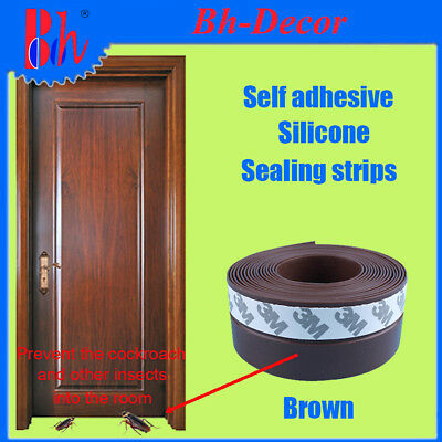 Brown Silicone Weather Stripping Self Adhesive Door Bottom Seals Sealing Strips