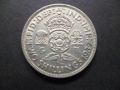 1937 Two Shilling coin in  fine condition,George 6th .500 silver florin piece.