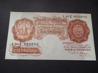 B266 P S Beale 1950 Ten Shilling Note In Uncirculated Condition.
