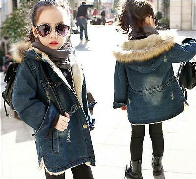 New Girls' Winter Denim Jackets Coats Kids Fur Cowboy Hooded Warm Outerwear