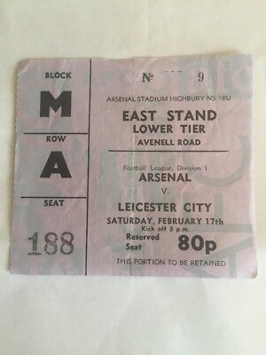 Ticket : Arsenal V. Leicester City 17/02
