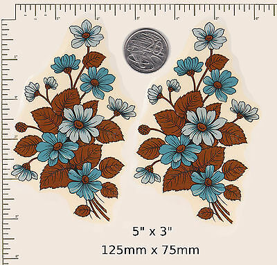 """2 x Waterslide ceramic decal.Decoupage Blue flowers Floral  5"""" x 3"""" PD49a"""