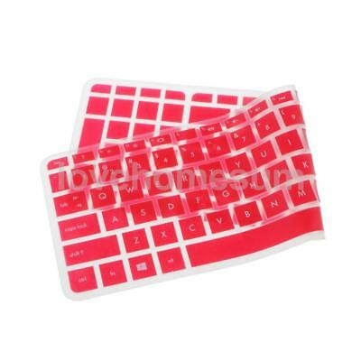 Waterproof Keyboard Protector Film Silicone Skin Cover for HP 15'' Clear Red