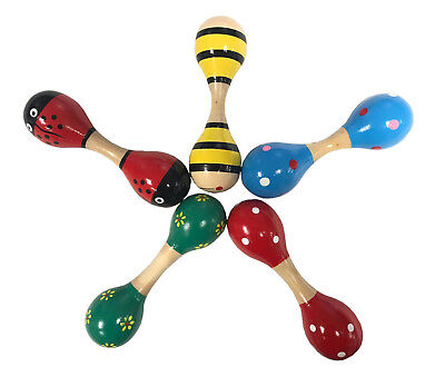 Bright Colour Wooden Maraca Wood Rattle Musical Party Baby Shaker Toy UK SELLER