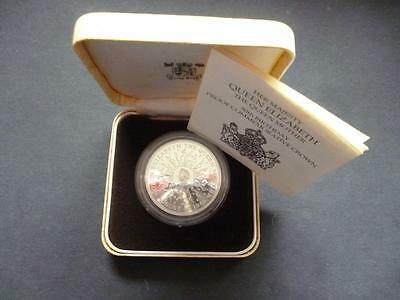 1980 Silver Proof Crown  Coin The Queen Mothers 80Th Birthday Cased With Coa.