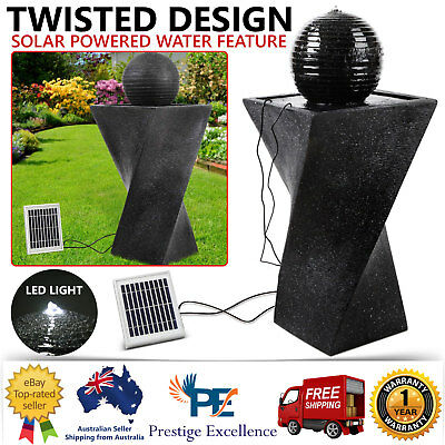 Solar Powered Fountain Twist Design with LED Lights Garden Water Feature Outdoor