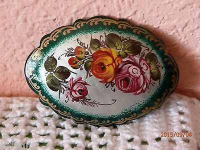 Russian Hand Painted Lacquer Paper Mache Pin Brooch Signed By Artist