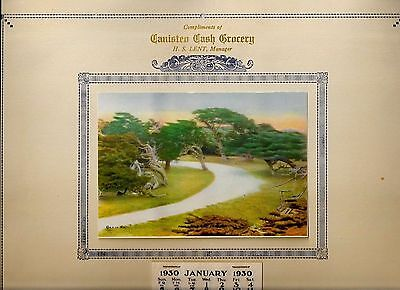 Advertising Calendar 1930 Canisteo Cash Grocery NY Lent Manager Steuben Fairies