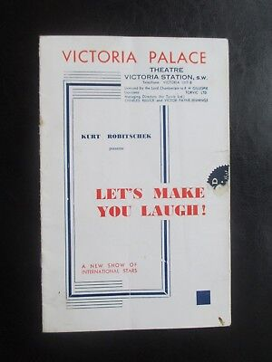 c1936 VICTORIA PALACE THEATRE LETS MAKE YOU LAUGH PROGRAMME