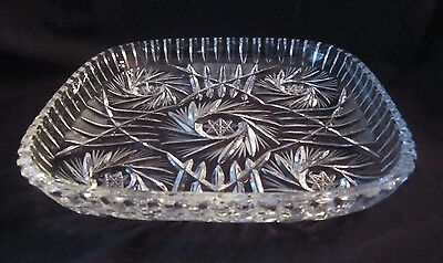 Vintage Square Pinwheel Crystal Serving Plate or Tray - 9.5 inches
