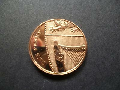 2008 Brilliant Uncirculated 1p (Penny) coin, the first Year of the new design.