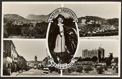 "Wales. Powys. Montgomeryshire. Welshpool ""Welsh Greetings"" - Multi-View Postcard"