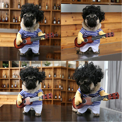 Chien Chiot Chat Costume Cosplay Guitar Dress Up Party Halloween Vêtements Neuf