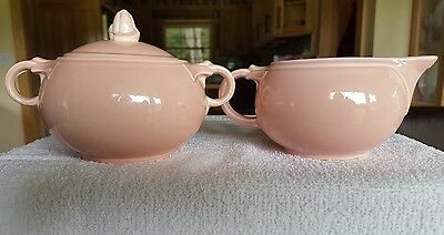Vintage T.S. & T. Lu-Ray Pastels Pink Cream and Covered Sugar Bowl #2