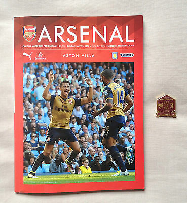 LIMITED EDITION - OFFICIAL Arsenal vs AstonVilla Badge AND Programme