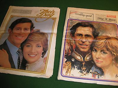 2 X Newspapers - Melb (ORIGINAL) - CHARLES+DIANA Wedding Souvenir Editions -1981