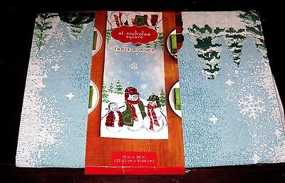 Saint Nicholas Square Snowman Table Runner New
