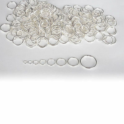 50x Bulk Lot SILVER PLATED Split Rings Necklaces 0.9cm wide(A6)= GOTHIC GIRLZ SA
