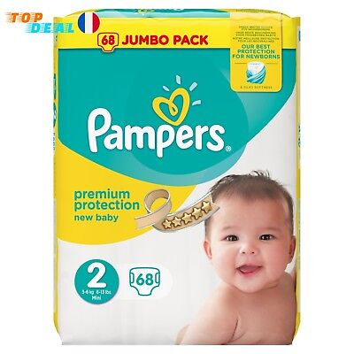 Couches Pampers New Baby Bébé Taille 2 (3-6 kg) - Jumbo Pack 68 couches NEUF