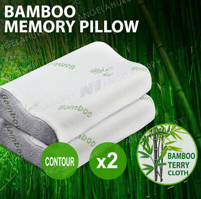 2x Luxury Soft and Hard Contour Bamboo Pillow Memory Foam Fabric Fibre Cover Bed