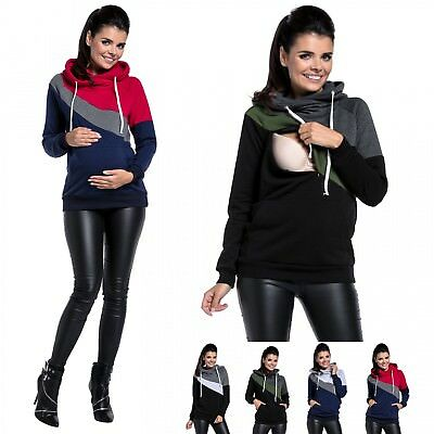 Happy Mama Women's Nursing Hoodie Breastfeeding Top Colour Block Maternity. 321p