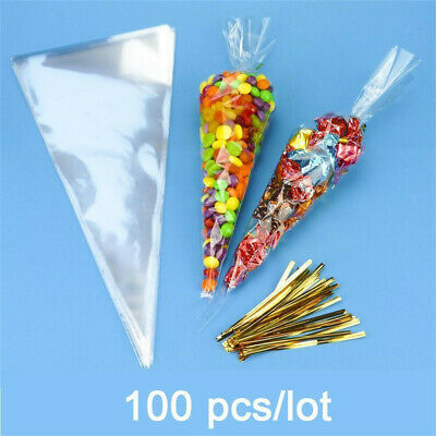 100/400Pcs Clear Cellophane Cone Bags Twist Ties Large Party Sweet Cello Candy