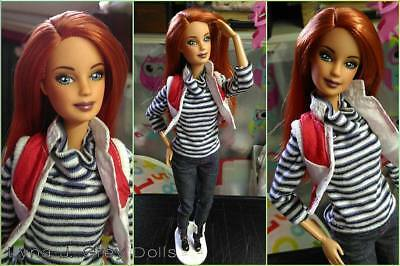 Fashionistas Barbie Redhead Ooak by Lyna J. Grey Italy w/ Frekles and outfit MTM