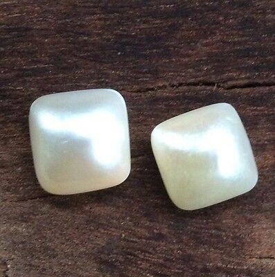 2 PC SQUARE SHAPE LOOSE PAIR MABE PEARLS  SALTWATER 11 x 12MM AA-GRADE