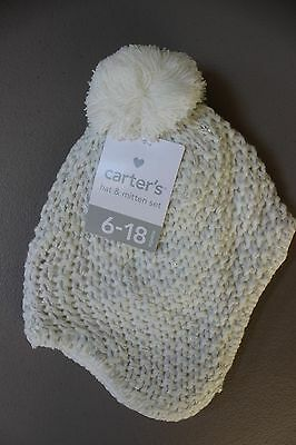 Carter s Baby Knit Sparkle Hat   Mitten Set - 6-18 Months - Beige Natural 9da123a1ce07