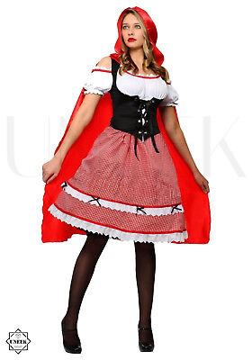 Long Red Riding Hood Cape with Hood Fancy Dress Costume Halloween Party (Adult)