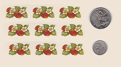 """9  x Waterslide ceramic decals  Approx. 1"""" x 5/8"""" Strawberries. Fruit PD412"""