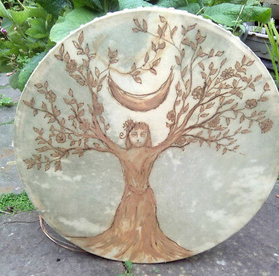 Hennaed 18'' Nature Goddess skin drum bodhran shamanic pagan wicca