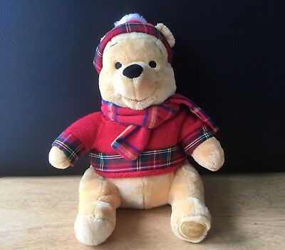 DISNEY STORE Winnie The Pooh Bear Plush Stuffed Animal with Sweater, Scarf & Hat