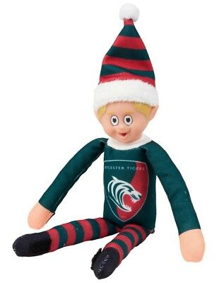 Official LEICESTER TIGERS Christmas Beanie Elf Rugby Union Soft Toy Kids Shelf