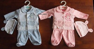 Premature Baby 4 Piece Outfit Set Girls Boys Pink Blue Pants Jacket T-Shirt Hat