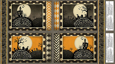 """Halloween Haunted House Cotton Fabric Sit A Spell Place Mat Project 24"""" Panel"""