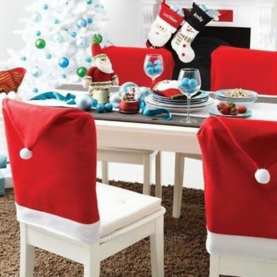 1/5/20pc Santa Red Hat Chair Cover For Christmas Decoration Dinner Chair Xmas UK