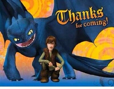 How to Train Your Dragon Hallmar Thank You Notes Birthday Party Supplies Pack 8