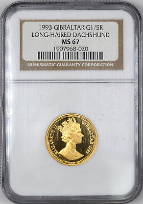1993 Gibraltar Gold Long-Haired Dachshund G1/5R - NGC MS69 -