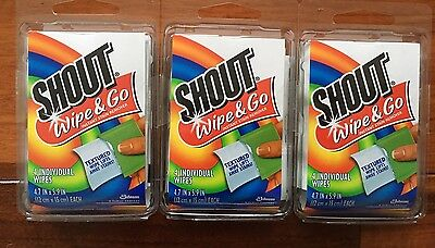 Shout Stain Remover Wipes Travel 4 count each pack 3 packs total lot 12 wipes