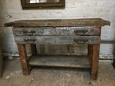 Old French Work Bench With 2 Drawers